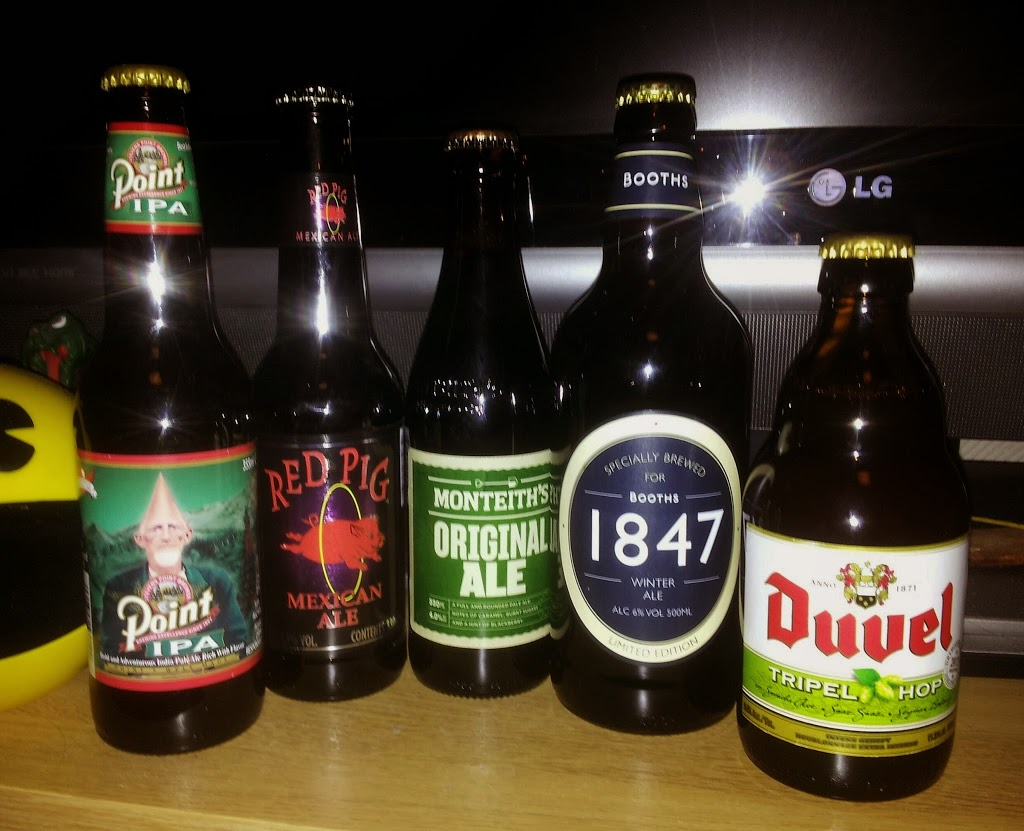 Steven's Point IPA, Red Pig Ale, Monteiths Original Ale, Booths/Hawkshead 1847, and Duvel 2013 Tripel Hop