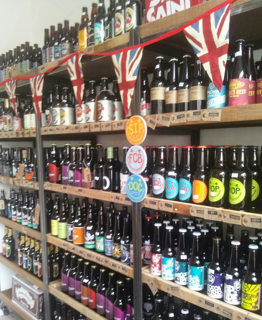 shelves of british beer bottles