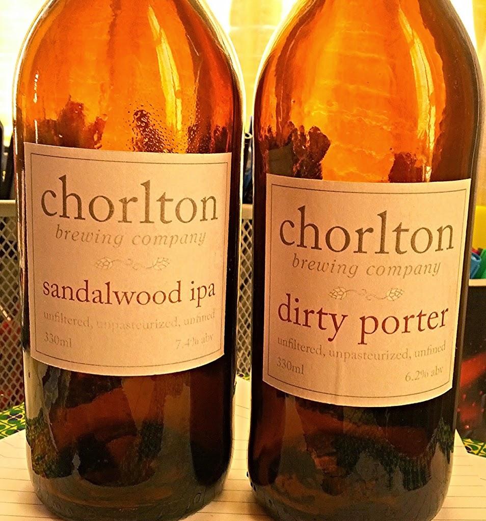Bottles of Sandalwood IPA and Dirty Porter peated porter from the Chorlton Brewing Company