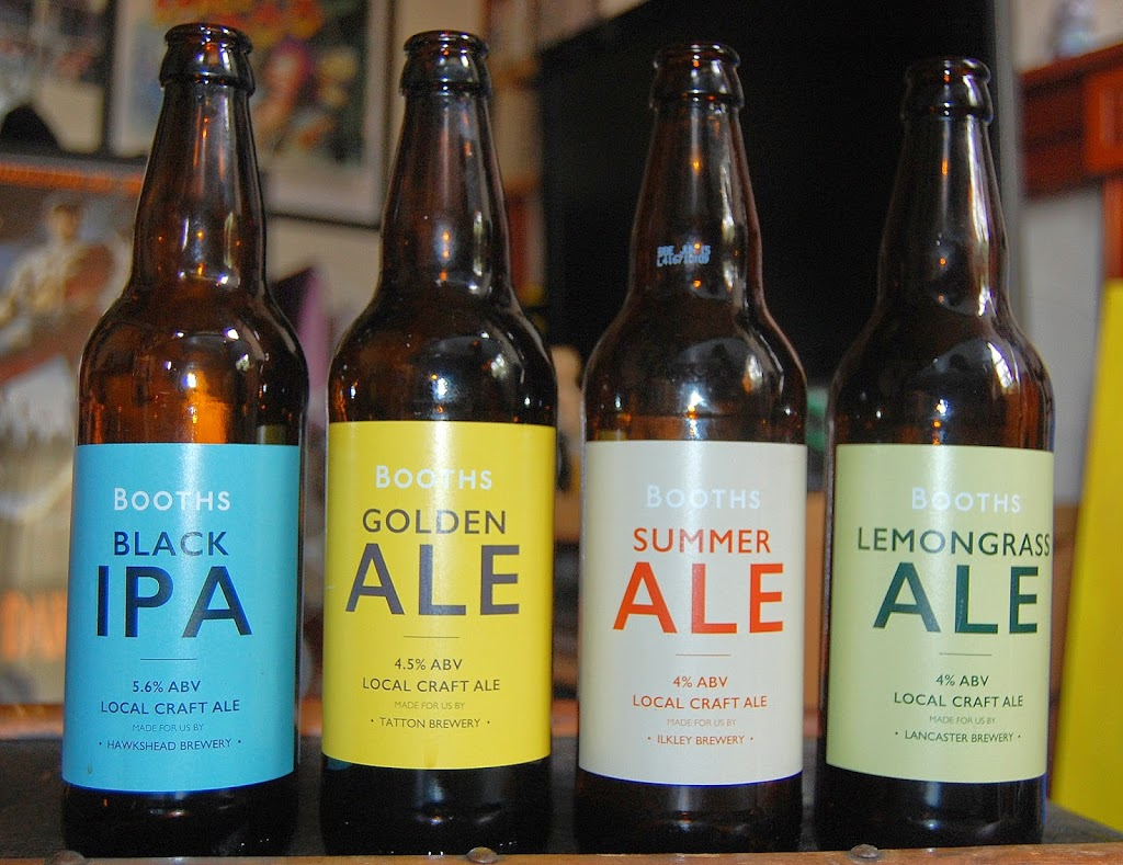 Hawkshead Black IPA, Tatton Golden Ale, Ilkley Summer Ale, Lancaster Lemongrass Ale bottles