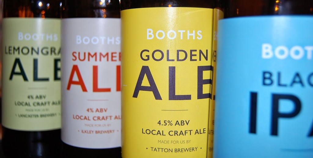 Booths' beers from Lancaster, Ilkley, Tatton, and Hawkshead breweries